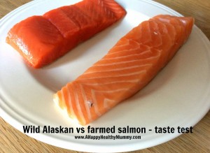 Farmed Salmon on Right